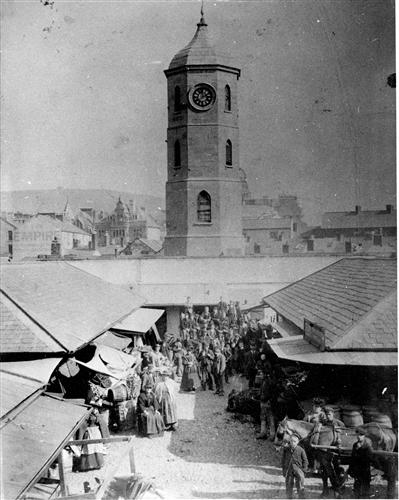 Swansea Market - An Early ViewThe first Oxford Street market c.1880.