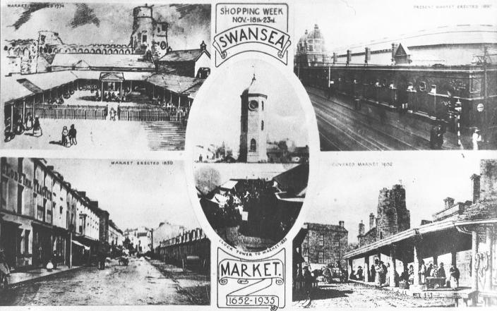 A postcard from 1935 displaying different eras of Swansea Market